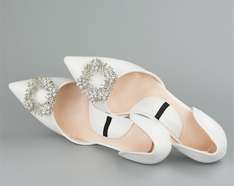 Flowers Square Rhinestone shoes clip / wedding shoes clip