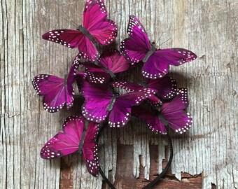 Purple Butterfly Fascinator, Boho Floral Crown, Flower Crown, Woodland Wedding, Headpiece, Butterfly Headdress, Derby, Purple Floral