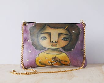 Eco-friendly Leather Clutch, 'Fiorellino' by ChiarArtIllustration