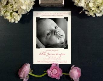 Letterpress & Photo Birth Announcement   Adoption Announcement   Photo Baby Announcement   Classic Announcement   LARGE Announcement
