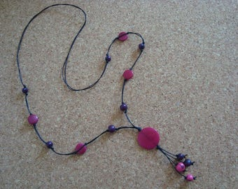 Necklace purple and Fuchsia pink color