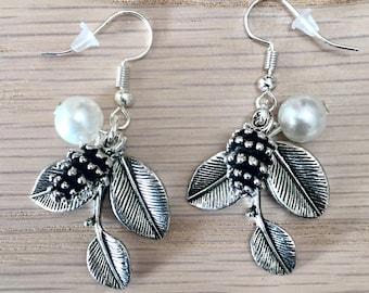 Earrings leaves, pine cone charms