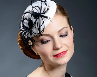 Black and white designer pillbox hat for your special occasions, one of the cutest hats I promise