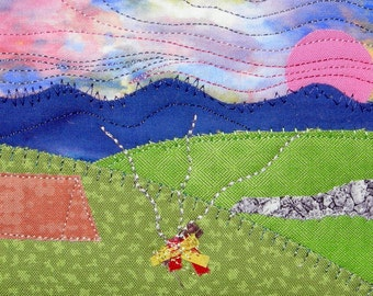 Handmade Small Quilt - Mountain Sunset - Camping Campfire - Rustic Landscape Art - Fabric Postcard - Art Landscape - Tent Camping