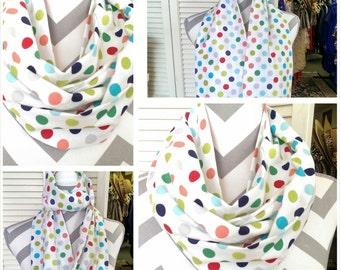 Infinity Scarf, Retro Dots Ladies Scarf, Neck Scarf, Cowl Scarf, Loop/Circle Scarf, Fashion Scarf, Ladies Wear/Clothes/Ladies Clothing