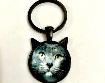 Cat Keyring, Persian Cat, Persian Keyring, Grey Cat, Grey Persian, Cat Lover, Persian Lover, Pet Keyring, Mothers Day, Valentines Day