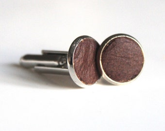 Distressed Brown Leather cuff links | Wedding Cuff links Groom | Gift for men l Groomsmen cufflinks | Christmas gift | 3rd Anniversary gift