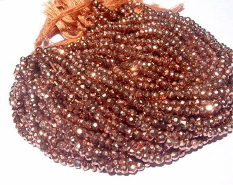 Super Finest Mystic Coppery Rose Gold Pyrite Micro Faceted Rondelles Length 14 Inches Size 3.5mm approx