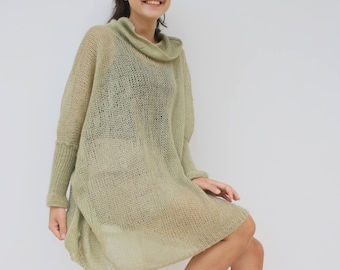 Musty Green Loose Knit Angora TurtleNeck Sweater / Oversized Hand-Knitted Long Sleeves Poncho / Knitted Pullover Blouse / Clothing Gift