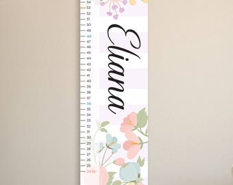 Girls Flowers Growth Chart, Personalized Growth Chart, Kid's Growth Chart Ruler, Vintage Growth Chart, Growth Chart Canvas, Tulips, Peonies
