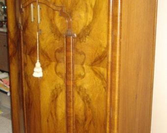 Art Deco French Burled Walnut Wardrobe   Antique Regence Armoire   Bakelite  Handles