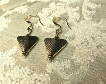 Thai Hill Tribe Silver Earrings, Vintage Fine Silver Triangle Earrings; Free Shipping