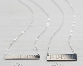 Wedding Date Necklace Classic Bar - Roman Numeral Necklace - Sterling Silver - Anniversary Gift