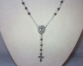 SIlver & Gemstone Rosary Necklace - Custom Made - Yolanda Foster Style - Pyrite
