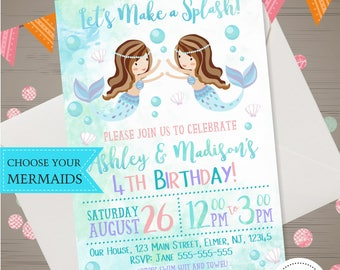 Mermaid Birthday Invitation Watercolor Mermaid Invitation Under the Sea Party Splash Bash Invite Mermaid Pool Party Twins Siblings Teal Pink