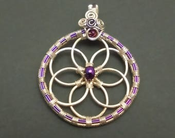 Purple Niobium and Sterling Silver Wire Wrapped Flower of Life Pendant