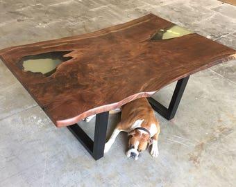 Single Slab Claro Walnut Dining Table with Live Edge.