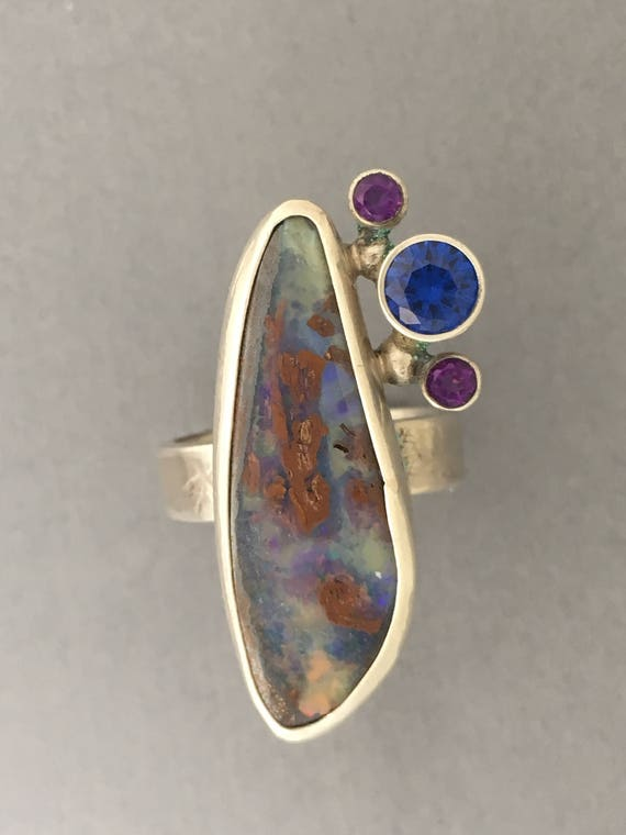 Oh what a beauty this Boulder Opal ring is!
