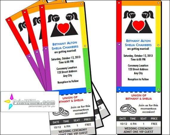 Lgbt Wedding Invitations: Lesbian Wedding Ticket Invitations Set Of 12 Rainbow Brides