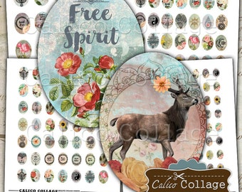Boho Collage Sheet, Oval Collage Sheet, 30x40mm, 22x30mm, 18x25mm, 13x18mm, Boho Images, Cameo Images, Boho Oval Images, Cabochon Images