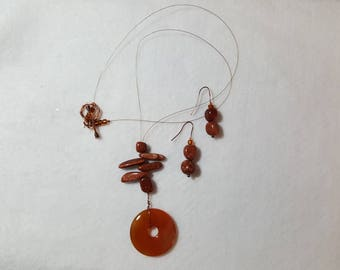 Copper Stone Necklace and Earrings