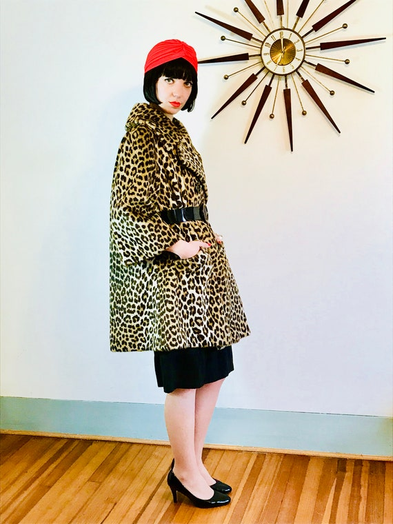 SOLD --- 60s Leopard Coat, Dan Millstein Coat, Leopard print, Vintage 1960s coat, 50s Trapeze Coat, Leopard Swing Coat, Long leopard coat