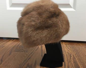vintage genuine mink honey brown fur pillbox hat