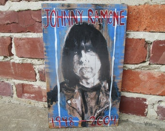 Johnny Ramone mixed media art on salvaged wood, print of original painting, Johnny Ramone portrait, punk rock legend, The Ramones band