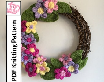 Flower wreath, Knitted wreath, Summer decoration, Spring decoration, Mothers Day gift - PDF KNITTING PATTERN