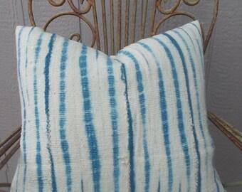 White light Indigo African mud cloth   Mud cloth pillow cover