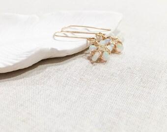 Opal Bloom Drops - Ethiopian Welo Opals Wire Wrapped in 14k Yellow Gold Fill Wire Handmade OOAK Dainty Feminine Flower Earrings Gift for Her