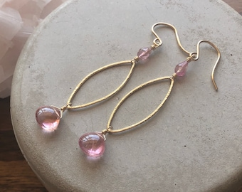 Pink Tourmaline and Marquise-Shaped Frames Earrings - 14kt GF Hoops with Luxe Gemstone Dangles