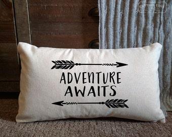 Adventure Awaits Cotton Canvas Natural Lumbar Pillow   Nursery Pillow   Nursery Decor   Kids Room Decor   Baby Shower Gift   Baby Gift