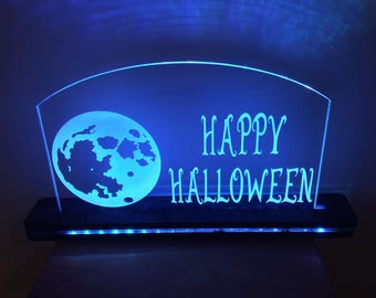 Happy Halloween Edge Lit Laser Cut LED Acrylic Sign With Remote and Lighted Wood Base