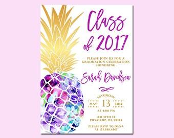 Pineapple Graduation Invitation, Graduation Open House Party, High School Graduation, College Graduation, Grad Announcement, class of 2018