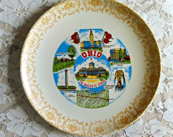 Vintage State Souvenir Plate: Ohio the Buckeye State, Collectible, Memorabilia, Gallery Wall, Kitsch