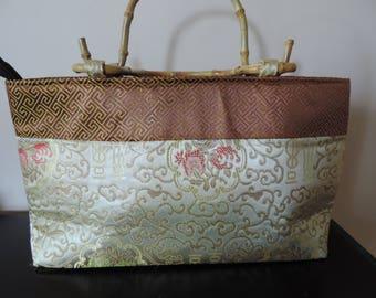 Handbag - bamboo handles - fabric satin - China