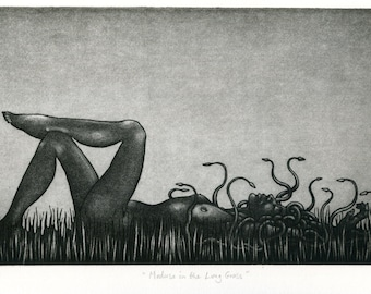 Original etching: 'Medusa in the Long Grass' - female nude, reclining figure, Snake-haired goddess or monster or woman, inspired by Myth