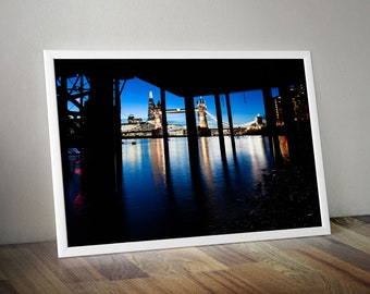 Stunning photographic artwork of London with Tower Bridge, River Thames and The Shard At Dusk from Wapping