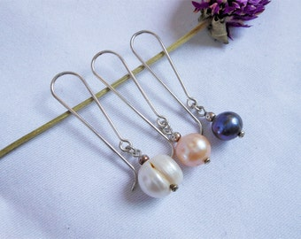 """Classic Natural 1.8"""" Silver Pearl Hook Earrings,Hook Earring,Stone Earring,Pearl Earring,Pierced Earring,Personalized Gifts,Gifts For Her"""