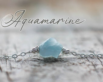 Raw Aquamarine choker | Sterling silver Aquamarine gemstone choker | Wirewrapped natural Aquamarine necklace | March birthday gift for her