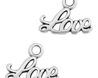 "DQ Metal Pendant ""Love""-3 pcs.-Zamak-color selectable (colour: antique silver)"