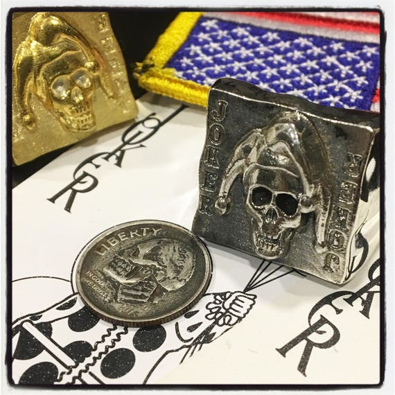 Etherial Jewelry - Rock Chic Talisman Luxury Biker Custom Handmade Artisan Pure Sterling Silver .925 Gambler Badass Skull Joker Ring