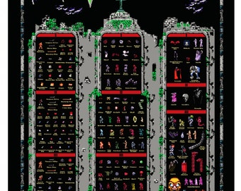 Castlevania NES Trilogy 1 2 3 Retro Style Poster Belmonts Monsters Vampires Wow
