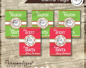 Printable Santa Tags - Santa Gift Tags -  Personalized Santa Tags - HoHoHo Theme