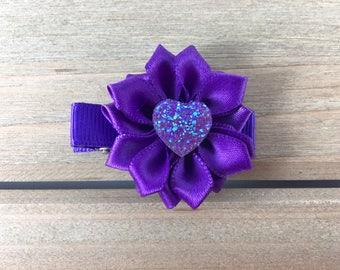 Purple hair clip for girl, purple bow for girls,  flower hair clip, kids stocking stuffer, hair accessories for girls, flower girl hair