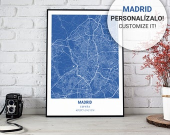 Blue Map Poster Klein of Madrid (Spain) 30, 40 and 50. Custom text. Ideal sheet for decoration or as a gift.
