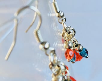 Turquoise & Fire Crystal Earrings