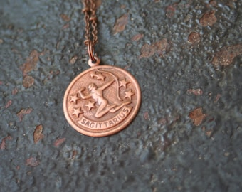 Vintage Copper Sagittarius Astrological Sign Astrology Charm Necklace