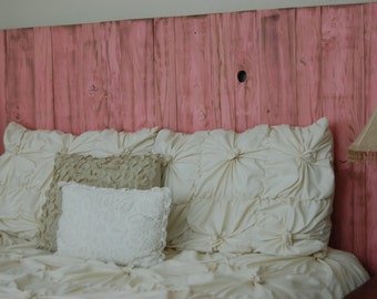 Pink Weathered Look - King Hanger Headboard with Vertical Boards. Mounts on wall. Adjust height to your convenience. Easy installation.